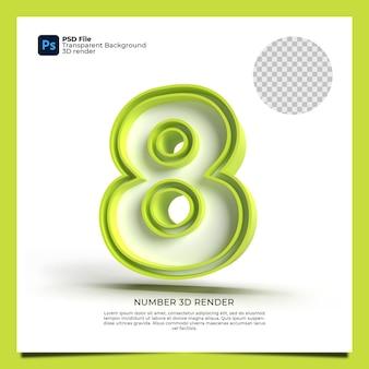 Numer 8 3d render zielony kolor