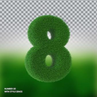Numer 8 3d ze stylową trawą