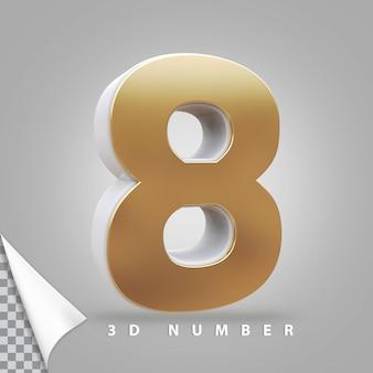 Numer 8 renderowania 3d złoty