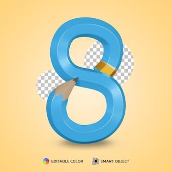 Numer 8 styl tekstu elastycznego koloru ołówka na białym tle renderowania 3d