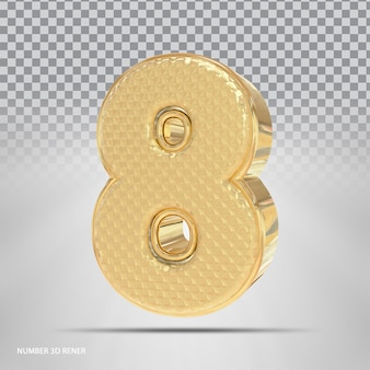 Numer 8 w stylu 3d golden