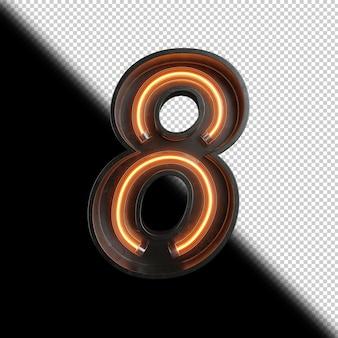 Numer 8 wykonany z neon light