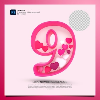 Numer 9 3d render różowy kolor z ikoną miłości