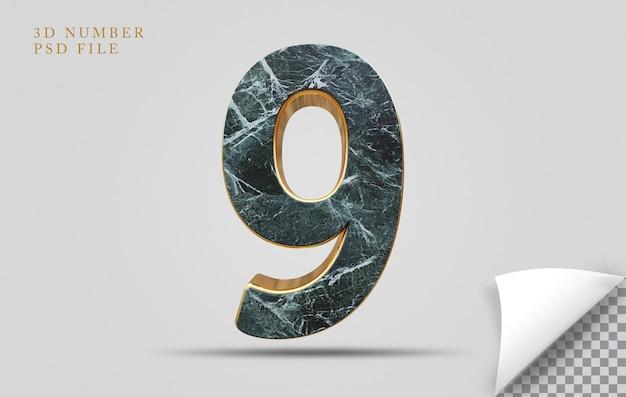Numer 9 3d render tekstury kamienia ze złotym