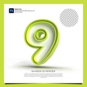 Numer 9 3d render zielony kolor