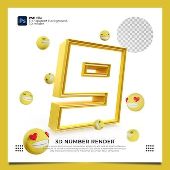 Numer 9 3d render żółty kolor z elementami