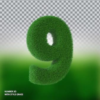 Numer 9 3d ze stylową trawą