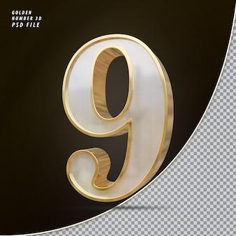Numer 9 3d złoty luksus