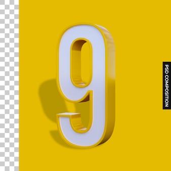 Numer 9 renderowania 3d na białym tle