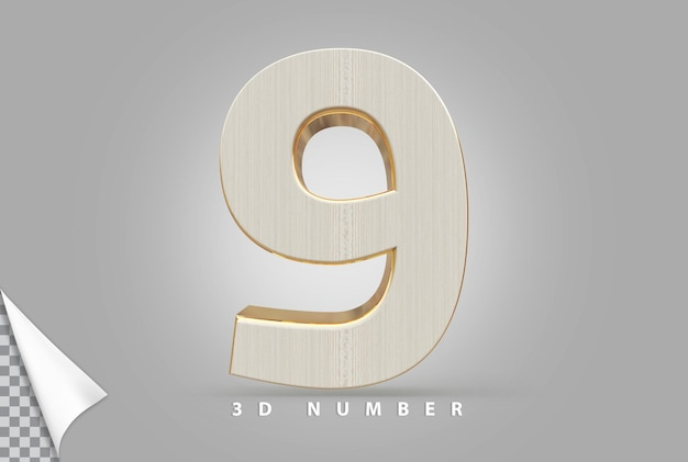 Numer 9 renderowania 3d złoty w stylu drewna