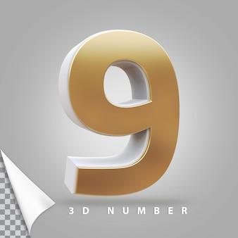 Numer 9 renderowania 3d złoty