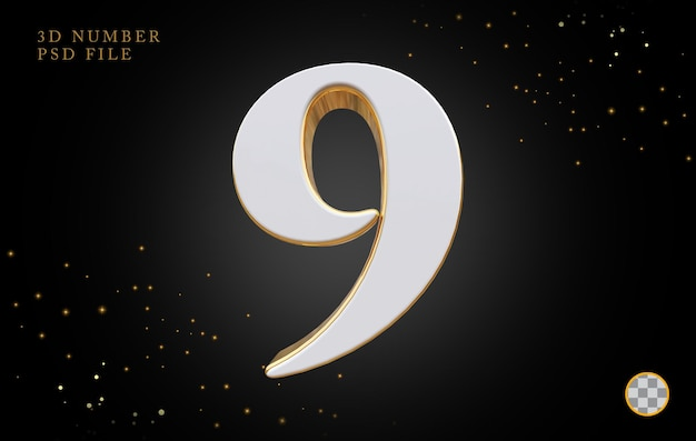 Numer 9 z renderowaniem 3d w złotym stylu