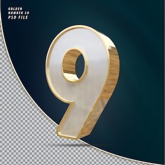 Numer 9 złoty luksusowy render 3d