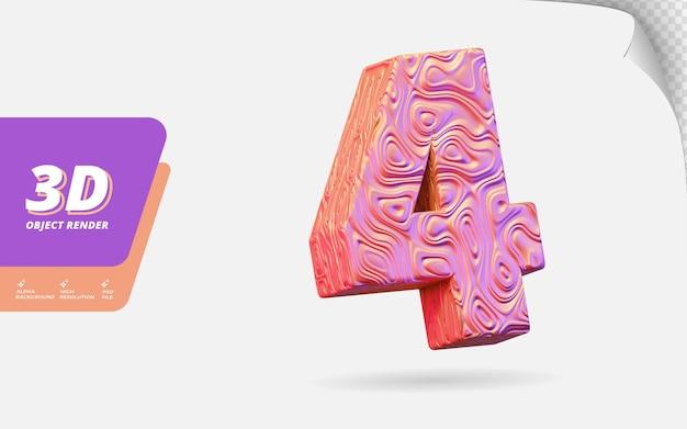 Numer cztery, numer 4 w renderowaniu 3d na białym tle z abstrakcyjną topograficzną ilustracją projektu tekstury falistego różowego złota