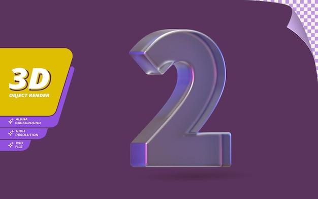 Numer dwa, numer 2 w renderowaniu 3d na białym tle z abstrakcyjną ilustracją projektu tekstury metalicznego szkła kryształowego