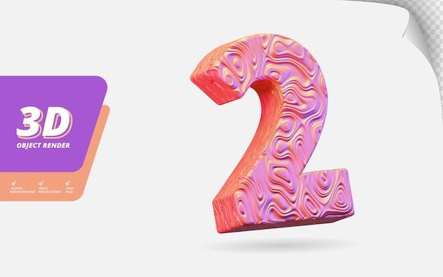 Numer dwa, numer 2 w renderowaniu 3d na białym tle z abstrakcyjną topograficzną ilustracją projektu tekstury falistego różowego złota