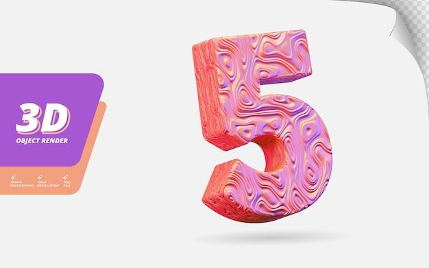 Numer pięć, numer 5 w renderowaniu 3d na białym tle z abstrakcyjną topograficzną ilustracją projektu falistej tekstury w kolorze różowego złota