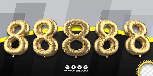 Numeracja w balonach foliowych 8