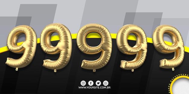 Numeracja w balonach foliowych 9