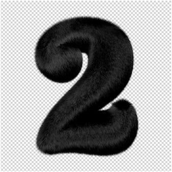 Numery wykonane są z czarnego futra norek. 3d numer 2