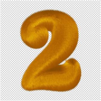 Numery wykonane z rudego futra. 3d numer 2
