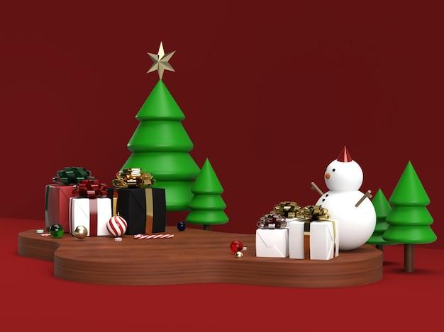 Obchody bożego narodzenia i nowy rok 3d makieta sceny produktu