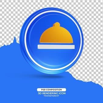 Obiad symbol ikony renderowania 3d