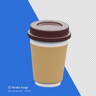 Obiekt 3d renderowanie ikony filiżanki kawy na białym tle.