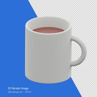 Obiekt 3d renderowanie ikony kubek kawy na białym tle.