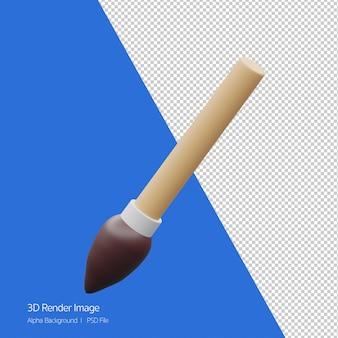 Obiekt 3d renderowanie ikony pędzla na białym tle.