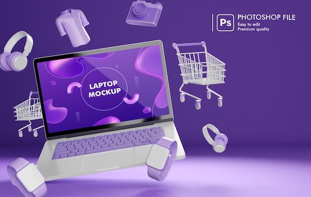 Obiekt zakupów online wokół renderowania 3d laptopa