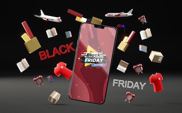 Obiekty 3d i telefon na czarny piątek na czarnym tle