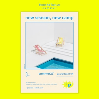 Obóz letni z szablonem plakatu przy basenie