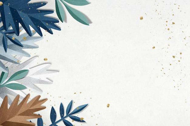 Obramowanie liści papierowych psd w odcieniu niebiesko-białym