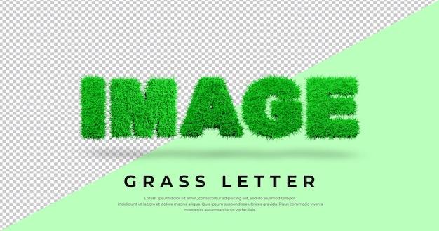 Obraz tekstu listu z projektem trawy 3d