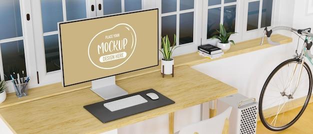 Obszar roboczy na poddaszu z komputerem stacjonarnym, artykuły papiernicze na biurku i przestrzeni kopii, renderowanie 3d, ilustracja 3d