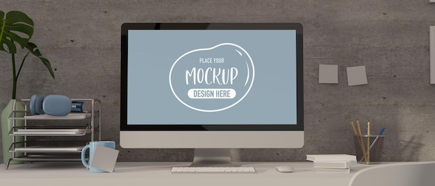 Obszar roboczy renderowania 3d z makietą komputera, papeterii, materiałów biurowych i dekoracji na białym stole
