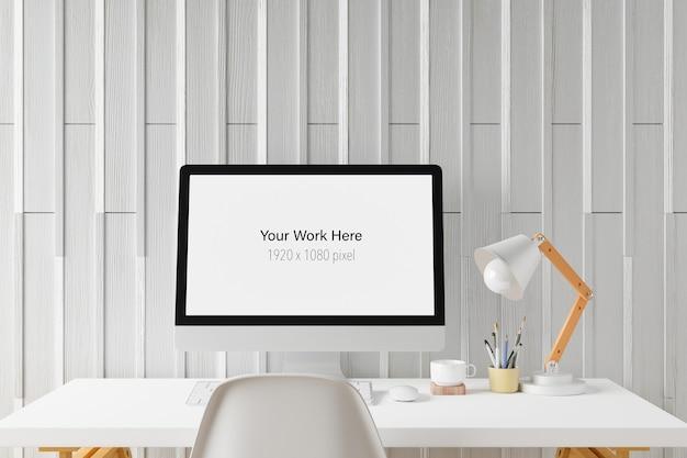 Obszar roboczy z makietą ekranu laptopa w renderowaniu 3d