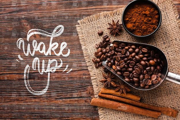 Obudź się w tle z kawą