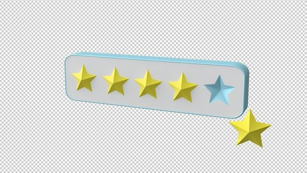 Ocena gwiazdek na białym tle renderowania 3d