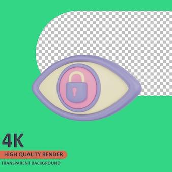 Oczy i kłódka 3d cyber ikona ilustracja wysokiej jakości renderowanie