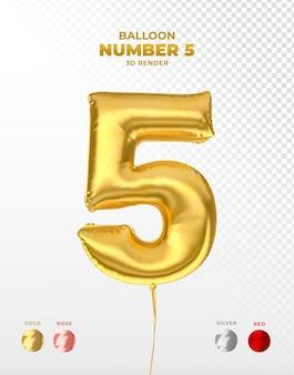 Odcięty realistyczny balon ze złotej folii z numerem 5