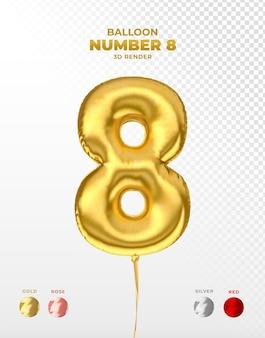 Odcięty realistyczny złoty balonik numer 8