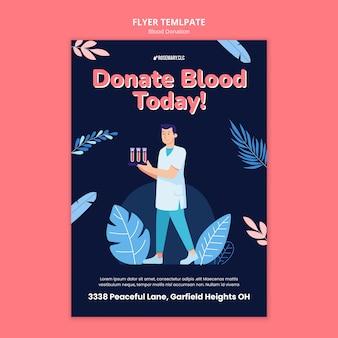 Oddaj krew dzisiaj szablon ulotki