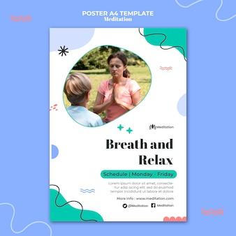 Oddychaj i zrelaksuj się szablon plakatu