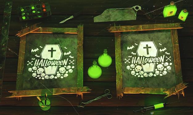Odgórnego widoku halloween pojęcie na drewnianym tle