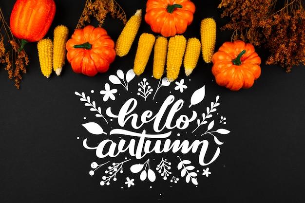 Odgórnego widoku jesieni rama na czarnym tle