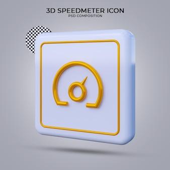 Odizolowana ikona miernika prędkości renderowania 3d