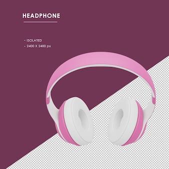 Odosobnione różowe bezprzewodowe słuchawki z widoku górnego kąta