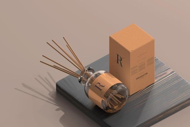Odświeżacz powietrza kadzidło z dyfuzorem trzcinowym szklana butelka z makietą pudełka
